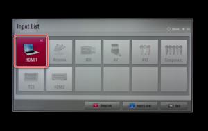 Выбор порта HDMI 1